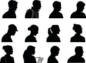 A vector silhouette illustration of multiple facial profiles of male and female business professionals including both young and mature adults.