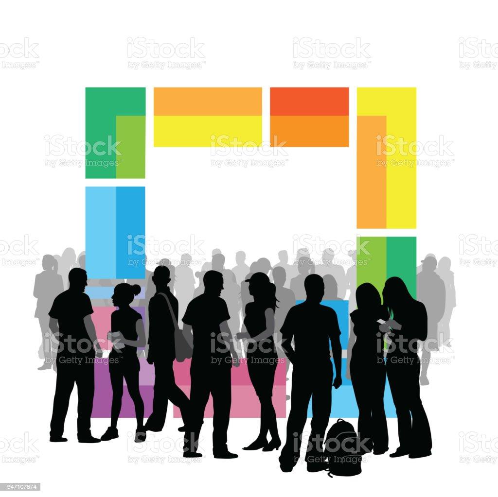 Junge Erwachsene Social – Vektorgrafik