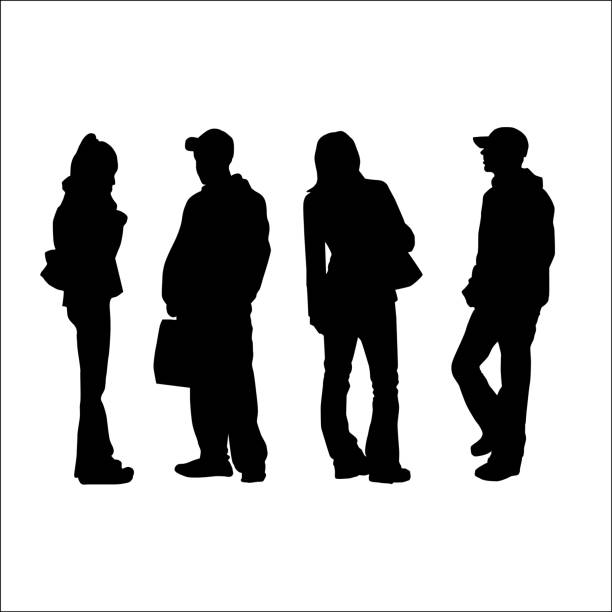 Young Adults vector art illustration