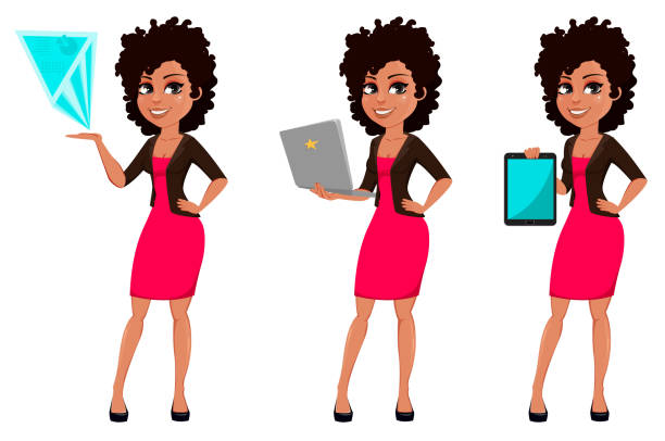 ilustrações de stock, clip art, desenhos animados e ícones de young african american business woman - business woman hologram