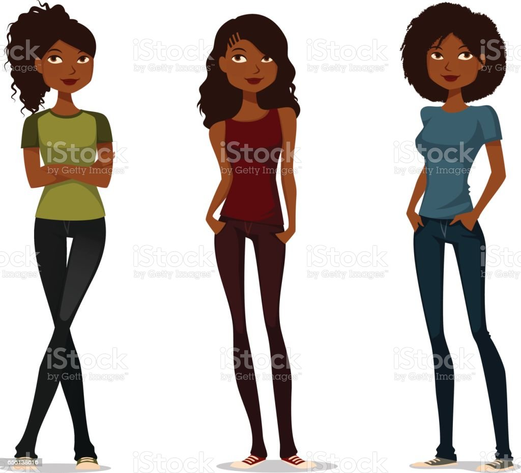 young African American girls vector art illustration