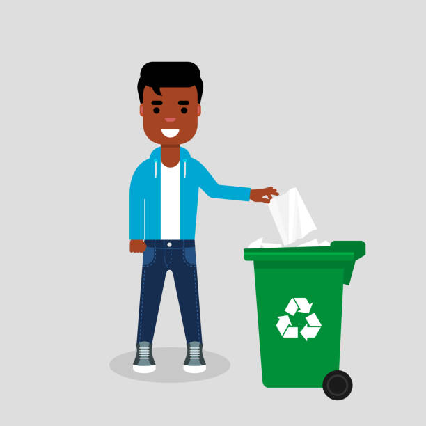 illustrazioni stock, clip art, cartoni animati e icone di tendenza di young african american in jeans and sweatshirt throwing paper in recycle bin. - carta velina