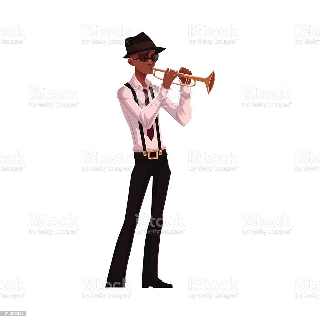 Young African American male trumpet player vector art illustration