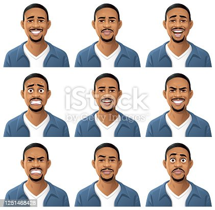Vector illustration of a young bearded african oder african american man, wearing a blue jacket, with nine different facial expressions: smiling, neutral, laughing, anxious, talking, mean/ smirking, angry, sceptic/cool,  stunned/surprised. Portraits perfectly match each other and can be easily used for facial animation by putting them in layers on top of each other.