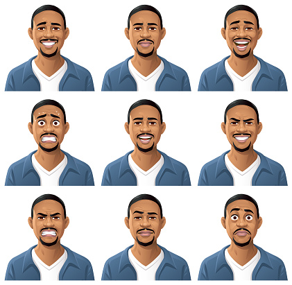 Young African American Man Portrait- Emotions