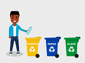 There are three different colored trash cans.Recycling plastic,segregate waste,sorting garbage,eco friendly concept.Vector