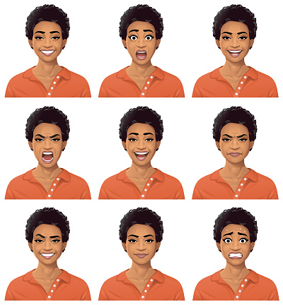 Vector illustration of a young african american woman with nine different facial expressions: smiling, surprised, talking, furious/shouting, laughing, angry, smirking, neutral and anxious. Portraits perfectly match each other and can be easily used for facial animation.