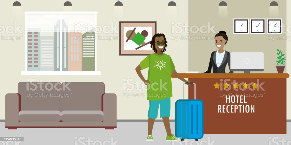 Young african american woman receptionist and african tourist. royalty-free young african american woman receptionist and african tourist stock vector art & more images of administrator