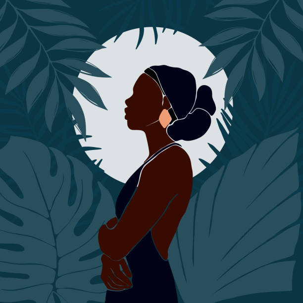 illustrazioni stock, clip art, cartoni animati e icone di tendenza di young african american woman stands against the backdrop of the moon. night in the juggle. large tropical leaves. - woman portrait forest