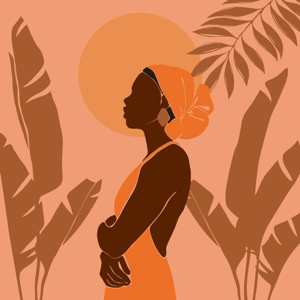 Young African American woman stands against the backdrop of the sun. Sunrise and sunset in the juggly. Large tropical banana leaves. Young African American woman stands against the backdrop of the sun. Sunrise and sunset in the jungle. Large tropical banana leaves. Vector illustration in a flat style. african american ethnicity stock illustrations