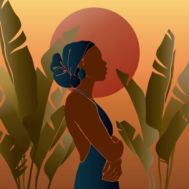 illustrazioni stock, clip art, cartoni animati e icone di tendenza di young african american woman stands against the backdrop of the sun. sunrise and sunset in the juggly. large tropical banana leaves. - woman portrait forest