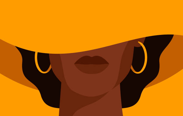 Young African American woman with black curly hair in the yellow hat with a wide brim covering her face. Young African American woman with black curly hair in the yellow hat with a wide brim covering her face. Black strong girl on yellow background, front view. Vector illustration african american ethnicity stock illustrations