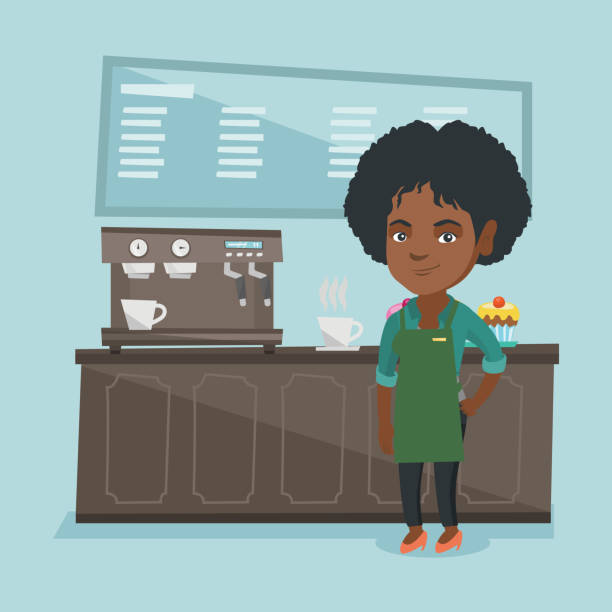 young african barista standing near coffee machine - small business owner stock illustrations