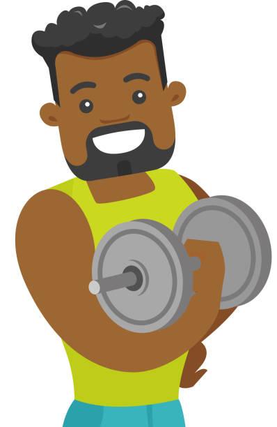 bildbanksillustrationer, clip art samt tecknat material och ikoner med unga afrikanska bodybuilder lyftande hantel - gym skratt