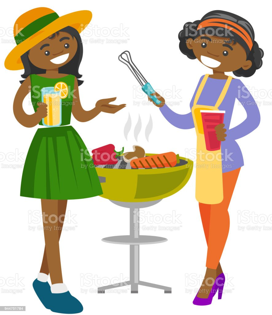Young african friends having fun at barbecue party vector art illustration
