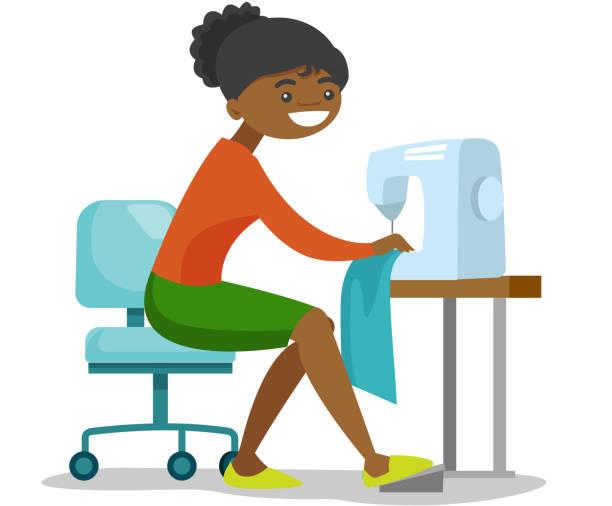 illustrazioni stock, clip art, cartoni animati e icone di tendenza di young african seamstress sewing on sewing machine - tailor working