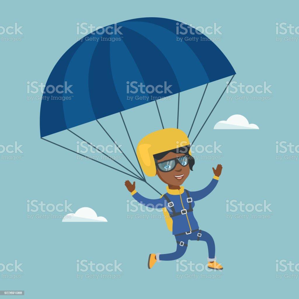 Ilustración de Jóvenes Africano Paracaidista Volando Con Un ...