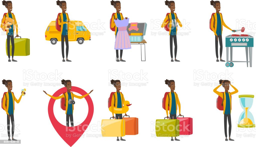 Young african traveler vector illustrations set vector art illustration
