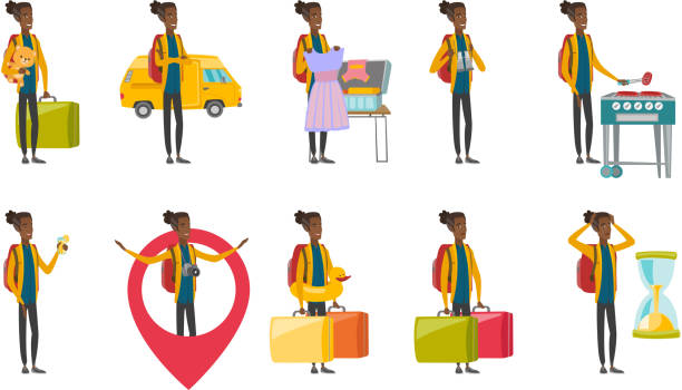 Young african traveler vector illustrations set vector art illustration