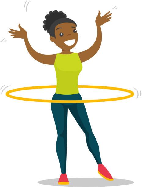 bildbanksillustrationer, clip art samt tecknat material och ikoner med unga afrikanska kvinnan gör övningar med rockring - gym skratt