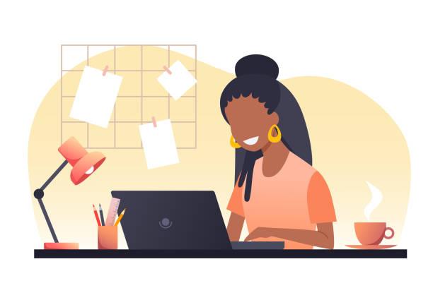 ilustraciones, imágenes clip art, dibujos animados e iconos de stock de una joven africana con el pelo oscuro trabaja en un ordenador portátil. trabaja desde casa. freelance. quédate en casa. ilustración plana vectorial. - cabello negro