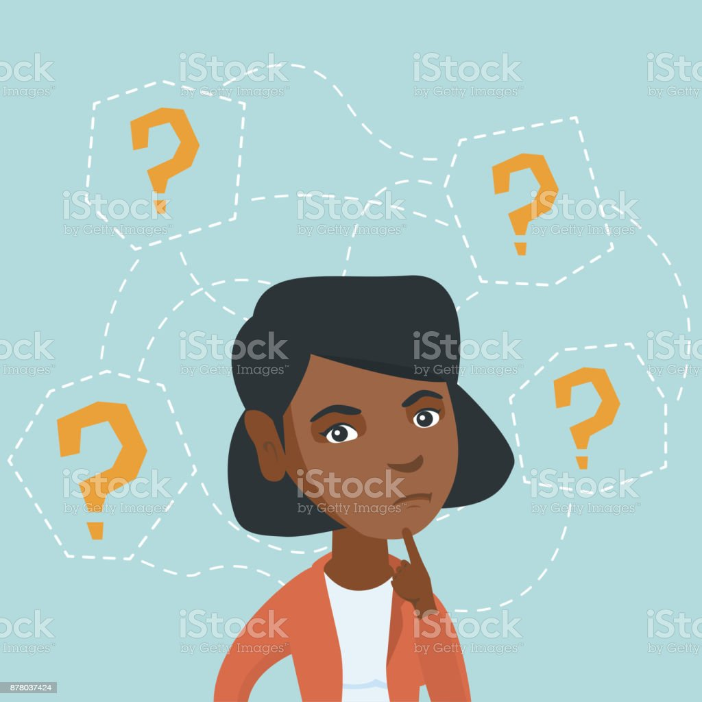Young african-american business woman thinking vector art illustration