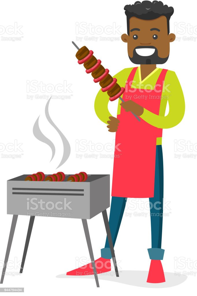 Young african-american man cooking shashlik vector art illustration