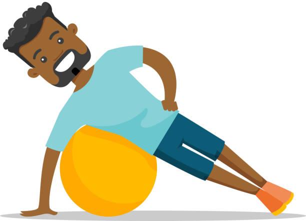 bildbanksillustrationer, clip art samt tecknat material och ikoner med unga afroamerikansk man tränar med fitball - gym skratt