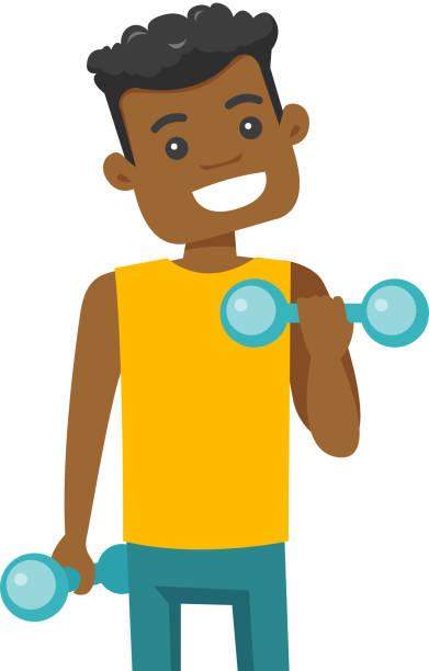 bildbanksillustrationer, clip art samt tecknat material och ikoner med afroamerikansk yngling lyftande hantel - gym skratt