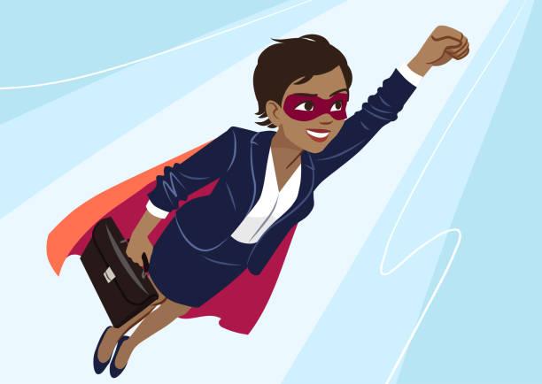 junge superhelden afroamerikanerin tragen business-anzug und cape, durch luft in superhelden-pose auf aqua hintergrund fliegen. vektor-cartoon charakter illustration, business, erfolg, ziele. - superwoman stock-grafiken, -clipart, -cartoons und -symbole