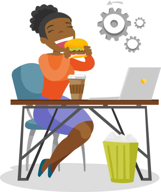 Young african-american woman eating hamburger Young african-american business woman sitting at the workplace with laptop and eating hamburger. Concept of unhealthy nutrition. Vector cartoon illustration isolated on white background. Square layout female sandwich stock illustrations