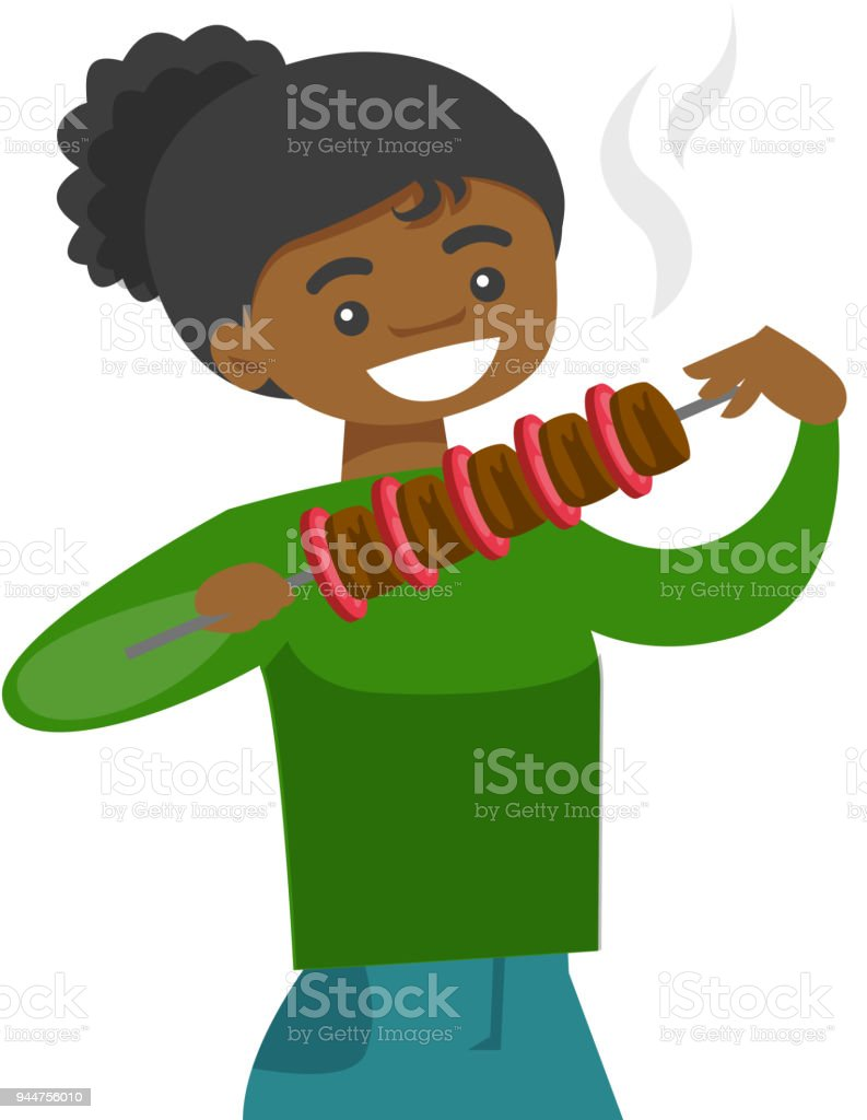 Young african-american woman eating shashlik vector art illustration