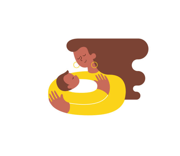 Mujer joven afroestadounidense abrazando y abrazando a su niño o niña y le enfermería. La madre abrazando el hijo recién nacido y expresando su amor y cuidado. Ilustración moderna. Aislado. Vector de - ilustración de arte vectorial
