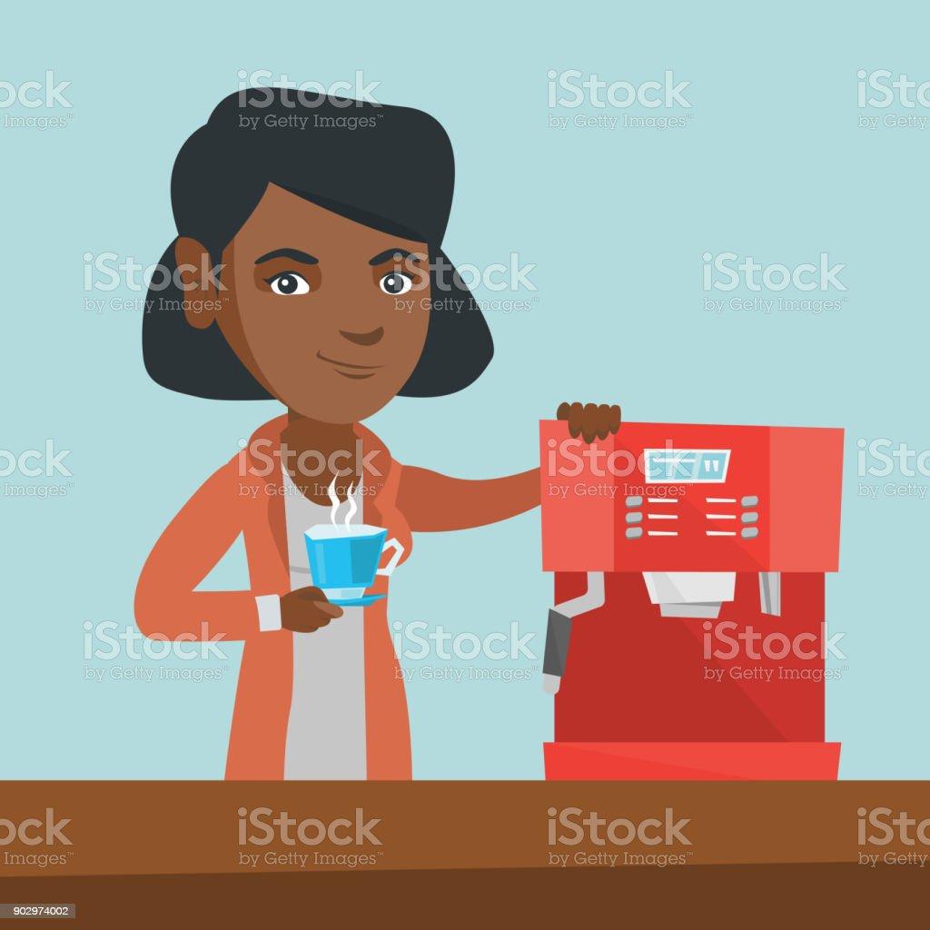 Joven afroamericana de un café - ilustración de arte vectorial