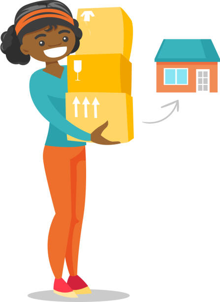 illustrations, cliparts, dessins animés et icônes de jeune femme afro-américaine, déménagement dans une nouvelle maison - nouveau foyer
