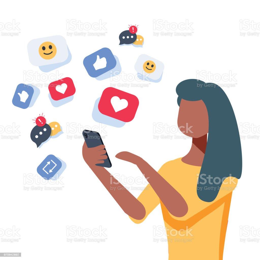 Jovem mulher afro-americana, usando um smartphone com muitos coração de mídias sociais como ícones. Gosta de mulher ficar na rede social. - ilustração de arte em vetor