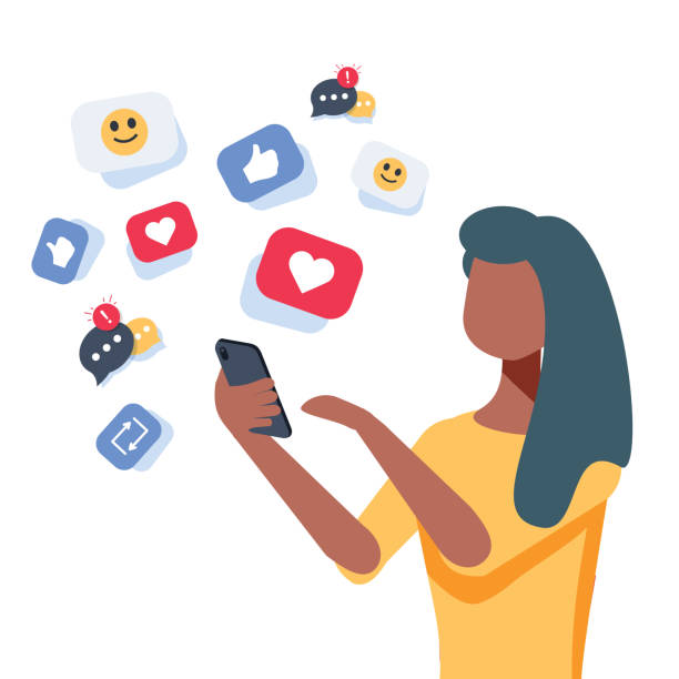 illustrazioni stock, clip art, cartoni animati e icone di tendenza di young african-american woman using a smartphone with many social media heart like icons. woman getting likes in social network. - social media