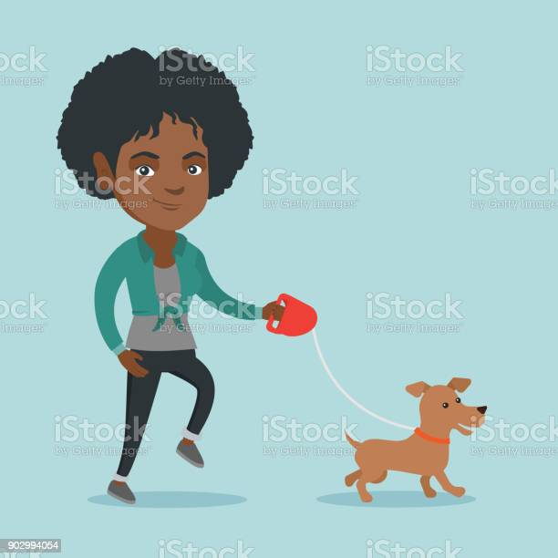 Young africanamerican woman walking with her dog vector id902994054?b=1&k=6&m=902994054&s=612x612&h=hdyngbuok2ohftcillenrtabkaaqae07 dqkz0tckhu=