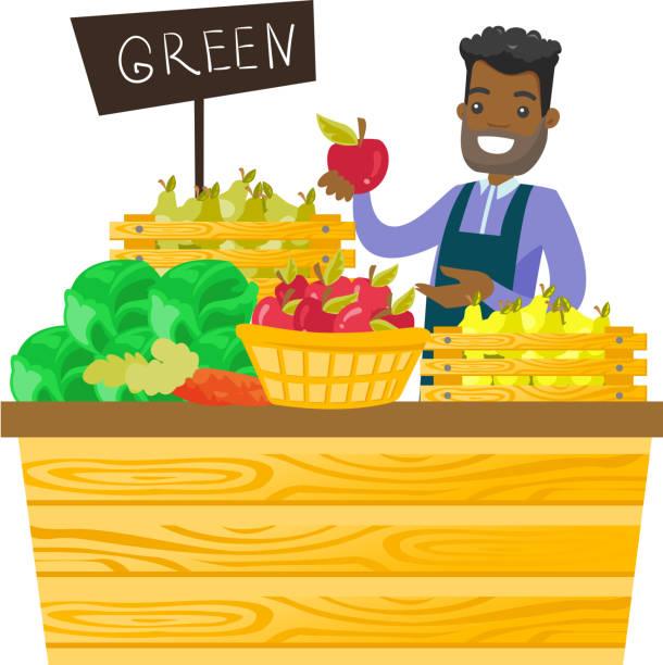 junge afroamerikanische arbeiter lebensmittelgeschäft - rechtsassistent stock-grafiken, -clipart, -cartoons und -symbole