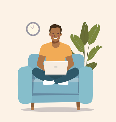 Young  afro American man sitting on the chair at home interior and working with laptop. Vector flat illustration