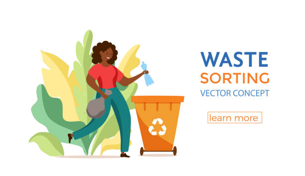 ilustrações de stock, clip art, desenhos animados e ícones de young afro american woman throwing plastic garbage into containers vector illustration - box separate life