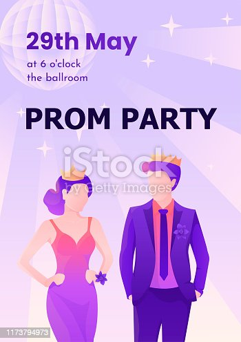 Young and beautiful prom king and queen colorful vector poster template for web and printing.