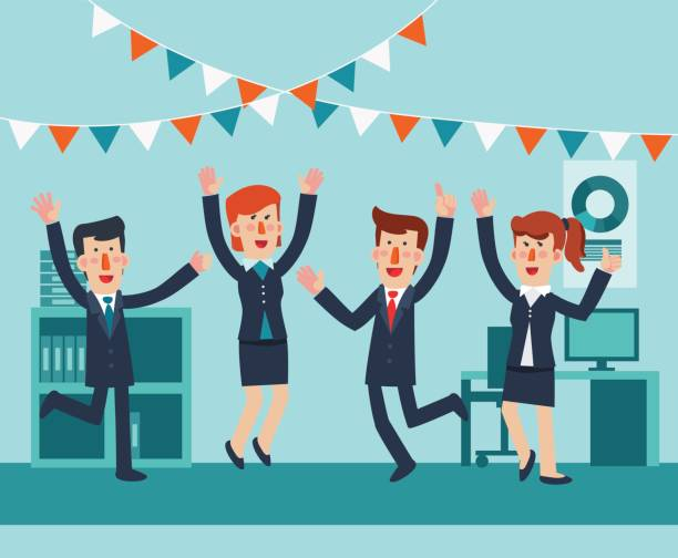 Young and happy business people jumping in office. Successful, smiling men and women celebrating victory vector art illustration