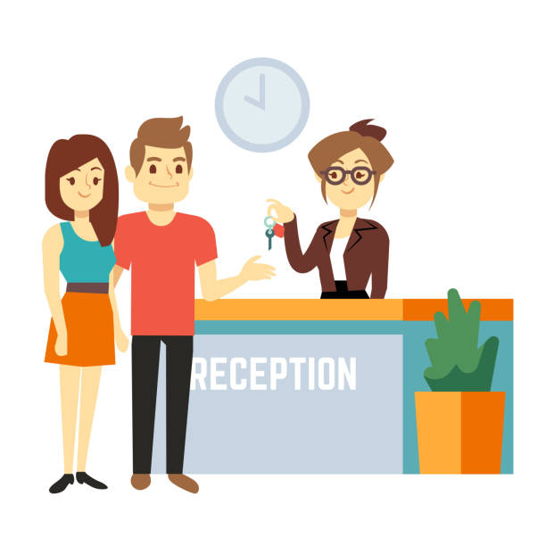 young and happy couple at reception with smiling receptionist. hotel reservation on holiday flat vector concept - hotel reception stock illustrations