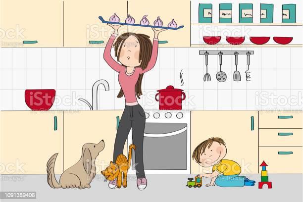 Young and pretty woman cooking in the kitchen with dog cat and her vector id1091389406?b=1&k=6&m=1091389406&s=612x612&h=czjwu0m4cjwskvryvonv5wqte6s0e58o7gzq9qhxnuy=