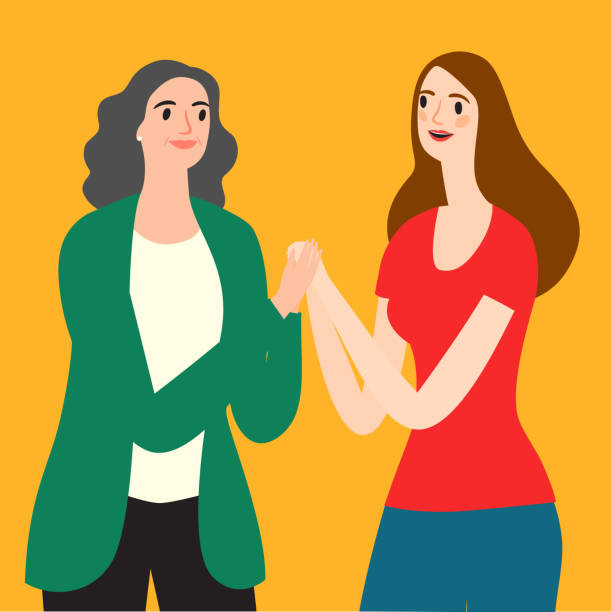 Young and senior women having a close conversation Lovely cartoon young and senior women having a chat. Family and relationship  illustration for your design. daughter stock illustrations