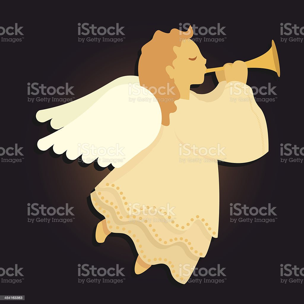 Young Angel Blowing Horn vector art illustration
