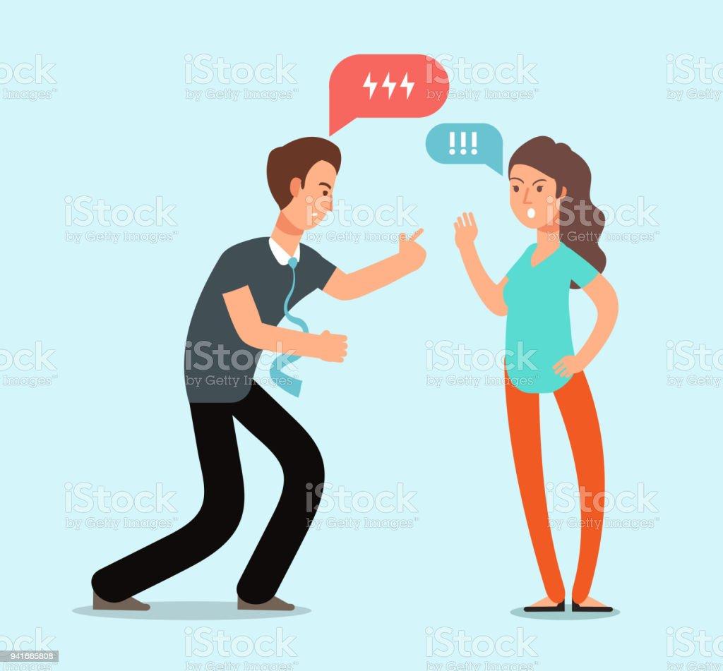 怒っている若者と女性のカップルの喧嘩があります家族の不幸な対立関係