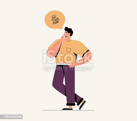 istock Young annoyed male character, sceptical face expression. Young guy doubting character standing with crossed legs 1284404349