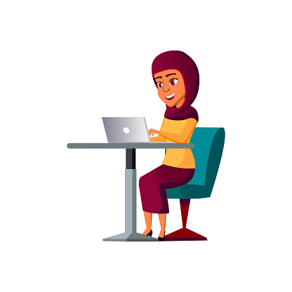 young arab girl chatting with friends in internet cafe cartoon vector